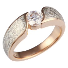 Mokume Wave 3mm Engagement Ring Round