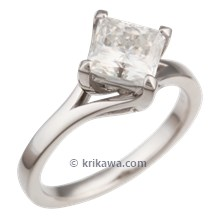Princess Cathedral Split Engagement Ring in White Gold