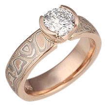 Mokume Solitaire Straight 14k Rose and Champagne