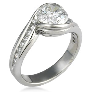 Carved Wave Engagement Ring