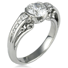 Carved Curls Engagement Ring with Tapering Stones
