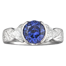 Mokume Three Stone Engagement Ring, Tapered, Round and Trilliants - top view