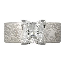 Mokume Princess Solitaire Engagement Ring, 4 Cutout Head - top view