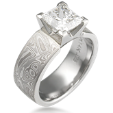 Mokume Princess Solitaire Engagement Ring