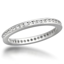Diamond Channel Brilliant Eternity Wedding Band - top view
