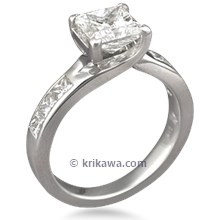 Carved Vine Engagement Ring
