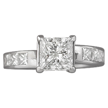 Carved Vine Engagement Ring - top view