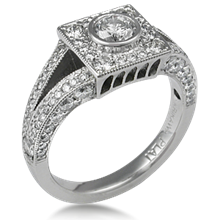 Brilliant Temple Pave Engagement Ring