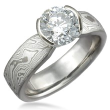 Mokume Solitaire Tapered Engagement Ring