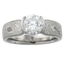 Mokume Solitaire Tapered Unique Engagement Ring - top view