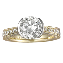 Brilliant Taper Pave Engagement Ring - top view