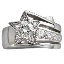 Shooting Star Engagement Ring - top view