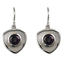 Shield Earrings with Amethysts