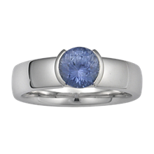 Modern Straight Solitaire, Tapered Head Engagement Ring with a 2 Cutout Head - top view