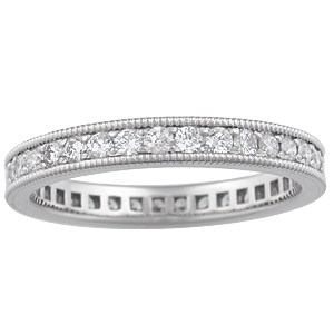 Diamond Pave Millegrain Wedding Band