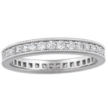 Diamond Pave Millegrain Wedding Band - top view