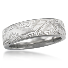 White Mokume Wedding Band