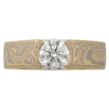 Mokume Flush Stone Solitaire Engagement Ring - top view