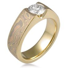 Mokume Flush Stone Solitaire Engagement Ring