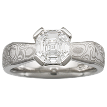 Mokume Solitaire Angled Taper Engagement Ring - top view