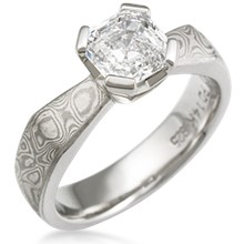 Mokume Solitaire Angled Taper Engagement Ring