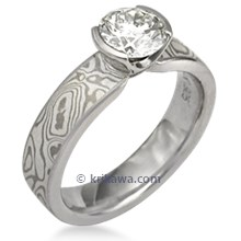 Mokume Solitaire Straight Engagement Ring
