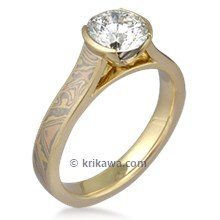 Mokume Cathedral Engagement Ring