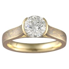 Mokume Cathedral Engagement Ring - top view