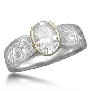 Oval Diamond in Mokume Engagement Ring