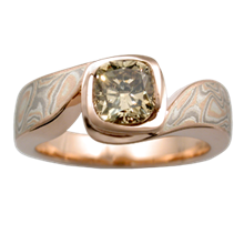 Mokume Swirl Engagement Ring - top view