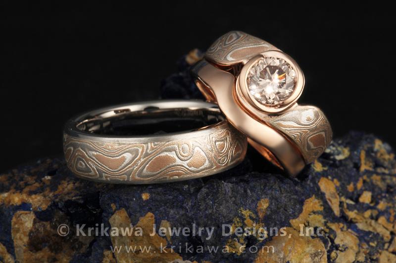 Platinum Mokume Solitaire Swirl Engagement Ring