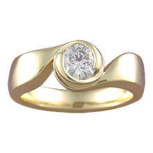 Modern Swirl Engagement Ring - top view