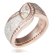 Mokume Wave Diamond Crossing Engagement Ring