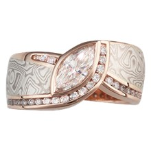 Mokume Wave Diamond Crossing Engagement Ring - top view