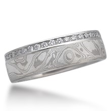 Mokume Diamond Channel Side Wedding Band