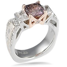Mokume Borealis Three Stone Engagement Ring