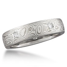 Mokume Wedding Band with 5 Flush Princess Diamonds
