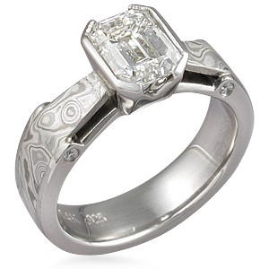 Mokume Bridge Engagement Ring