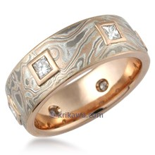 Mokume King's Crown Wedding Band