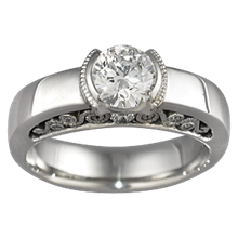 Modern Curls Engagement Ring - top view