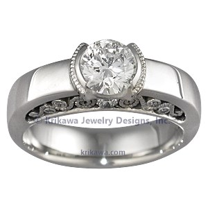Modern Bezel Set Diamond Engagement Ring