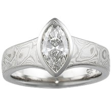 Mokume Solitaire Flare Engagement Ring - top view
