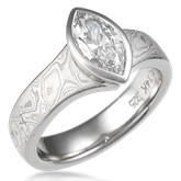 Mokume Solitaire Engagement Ring