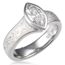 Mokume Solitaire Flare Engagement Ring