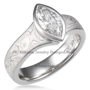 Mokume Solitaire Marquise Engagement Ring