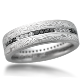 Mokume and Diamond Wedding Band