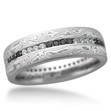 Mokume Diamond Channel Center Wedding Band