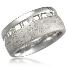 Mokume Bars and Symbols Wedding Band