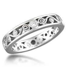 Millegrained Curls Wedding Band