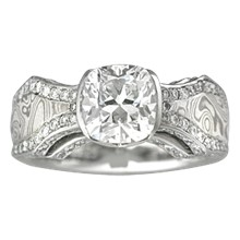 Mokume Borealis Diamond Accent Engagement Ring - top view